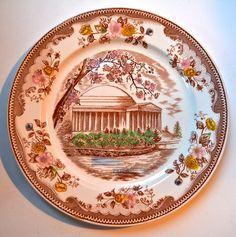 Vintage English Transferware Plate Brown & Richie Plate Thomas Jefferson Memorial Historical Staffordshire