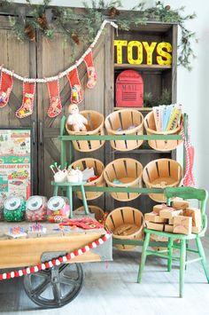 Love the bucket shelf! Vintage Santa's workshop christmas party by kara's party ideas |kara allen