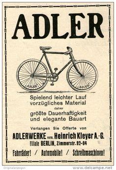 Original-Werbung/Anzeige 1914 - ADLER FAHRRÄDER / ADLERWERKE VORM. KLEYER BERLIN…