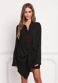 Black Collared Tie Front Shift Dress - Dresses