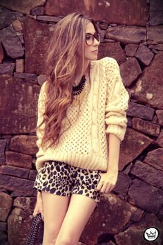 printed shorts and sweater