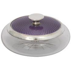 Sterling Silver - Mounted Purple Enamel and Crystal Powder Jar