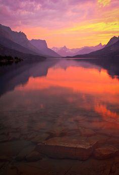 sunset at saint mary lake, montana