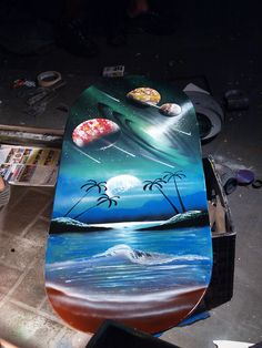 Galveston Texas Old Historic Island Strand with a Spray paint artist Joaquin painting a picture  2011