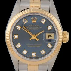 Rolex Datejust 18K Gold and Steel Blue Diamond Dial Wristwatch #EBTH