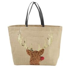 """Mud Pie Holly Jolly Christmas Dazzle Jute Tote (Tan). Jute tote features sequin holiday art with vegan leather handles. Laminated wipe-clean interior and interior pocket. Size: 14.5"""" x 22"""" x 6.5"""". Choose from 3 styles: Red Ornaments,Green Lights and Tan Rudolph. Each sold separately. From Mud Pie's Holly Jolly Collection."""