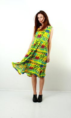 Colorful Dress / Abstract print Dress / Bright Colors Dress / Yellow / Casual Dress / Sleeveless Dress / Button Down Dress / Size L