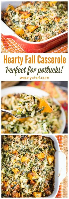 This hearty fall casserole recipe is perfect for potlucks! It's loaded with turkey, hashbrown potatoes and butternut squash for a satisfying, healthy dinner. Fall Dinner Recipes, Potluck Recipes, Casserole Recipes, Cooking Recipes, Healthy Recipes, Fall Meals, Potluck Themes, Yummy Recipes, Holiday Recipes