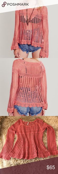 "❤️Free People Annabelle Crochet Pullover NWOT SZ M ❤️Free People Annabelle Crochet Pullover NWOT SZ M.  Coral color, scoop neck and back, long bell raglan sleeves, scalloped hem on shirt and hem. Measured laying flat: collar opening 10"", bust 19.5"", overall length 25"", sleeve length from collar edge 29-30"". Happy Poshing and let me know if you have any questions! Free People Sweaters Crew & Scoop Necks"