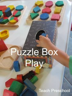 Puzzle Box Play by Teach Preschool - i could do this with an old tissue box Educational Games For Kids, Toddler Learning Activities, Play Based Learning, Games For Toddlers, Learning Through Play, Infant Activities, Early Learning, Preschool Class, Toddler Preschool