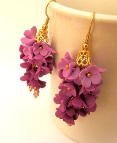 Violet earrings Flower earrings Lilacs Dangle por insoujewelry