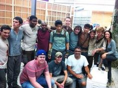 The Maze Runner cast on the last day of filming... Dylan O'Bryan kinda looks like he's still acting as Thomas.He's not paying attention.