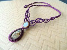 Macrame necklace Moonstone and Picasso by theStrangeWilderness