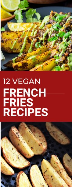 Vegan French Fries Recipes that are crispy, crunchy and delicious! Air fried, baked and smothered in delicious sauces. These fries are ready to be dipped and enjoyed for dinnertime or gameday! Vegan Appetizers, Vegan Dinner Recipes, Vegan Breakfast Recipes, Vegan Dinners, Lunch Recipes, Vegetarian Recipes, Cooking Recipes, Healthy Recipes, Skillet Recipes