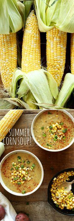 Simple, sweet-savory Summer Corn Soup -- The Minimalist Baker Corn Chowder Soup, Vegan Corn Chowder, Corn Soup, Whole Food Recipes, Soup Recipes, Vegetarian Recipes, Healthy Recipes, Healthy Soups, Vegan Soups