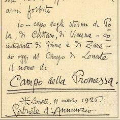 manoscritto autografo di Gabriele D'Annunzio datato 11 Marzo 1926  [item not for sale]