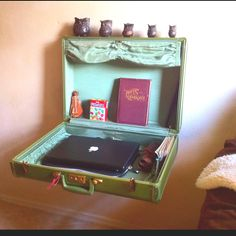 Floating suitcase nightstand... Everything about this is amazing!! Owls, vintage suitcases, need I say more?!