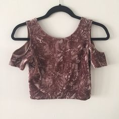 Crushed Velvet Cold Shoulder Crop Top NEW WITH TAGS Ruby and Jenna x Cotton Candy. Rose pink crushed velvet cropped tee with open shoulders and low back. Never worn, super cute and in perfect condition! Ruby and Jenna Tops Crop Tops