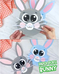 diy crafts This paper plate bunny craft for kids is a fun and simple Easter or spring time activity! It comes with a free printable template so its an easy DIY to do with preschool, kindergarten and elementary children. Kids will love this cute idea! Paper Plate Crafts, Paper Plates, Paper Crafting, Easter Activities, Preschool Crafts, Preschool Kindergarten, Easter Worksheets, Math Worksheets, Rabbit Crafts