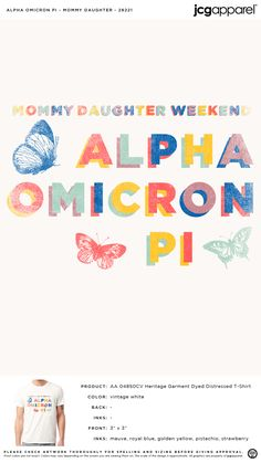 Alpha Omicron Pi Mommy Daughter Shirt | Sorority Mommy Daughter Shirt | Greek Mommy Daughter Shirt #alphaomicronpi #aopi #aoii #aop #Mommy #Daughter #Shirt #colorful #butterflies Sorority And Fraternity, Sorority Shirts, Pi Shirt, Butterfly Shirts, Alpha Omicron Pi, Custom Design Shirts, University Tees, Family Weekend, Panda Love