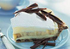 Banana cream pie with chocolate chip cookie crust.