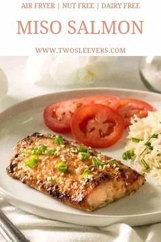 Miso Salmon | Air Fryer Salmon | Air Fryer Miso Salmon | Seafood Recipes | Air Fryer Seafood Recipes | Air Fryer Recipes | Nut Free | Two Sleevers | #twosleevers #airfryer #nutfree #dairyfree #salmon #seafood Air Fryer Recipes Salmon, Air Fryer Dinner Recipes, Baked Salmon Recipes, Fish Recipes, Seafood Recipes, Vegetarian Recipes, Healthy Recipes, Protein Recipes, Seafood Dishes