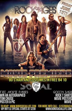 Rock of Ages Movie Premiere & 80's Ladies Night - Friday June 15th