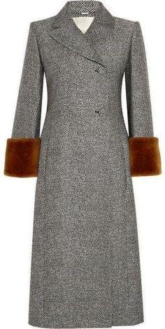 Grey Shearling-Trim Wool-Blend Coat