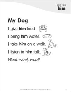 My Dog (Sight Word 'him'): Super Sight Words Poem Sight Word Sentences, Teaching Sight Words, Sight Word Practice, Teaching Letters, Preschool Letters, Writing Practice, Autism Teaching, English Poems For Kids, Kindergarten Songs