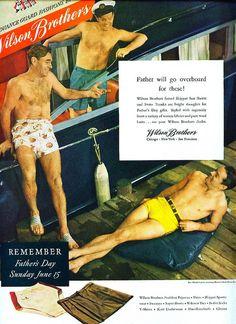 AD SWIM TRUNKS MEN SWIMWEAR 1940s WILSON BROTHERS Vintage Advertisement by Christian Montone, via Flickr