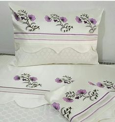 Bed Linen Sets, Linen Pillows, Linen Bedding, Bed Pillows, Crewel Embroidery, Beaded Embroidery, Embroidery Patterns, Bed Sheet Curtains, Bed Sheets