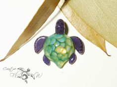 Teal Baby Honeycomb Turtle Pendant  Glass by CreativeFlowGlass