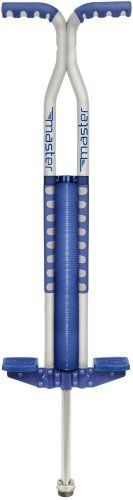 Flybar Foam Master Pogo Stick (Silver/Blue) (025543020407) HEART HEALTHY FUN! Precision made foam covered metal pogo stickIncludes non slip foot pads, handlegrips and rubber tip-Supports users 80 to 160 lbs Replaceable non-slip foot pads and rubber tip Comes fully assembled; backed by 1-year warranty For ages 9 years and older; supports 80 to 160 pounds