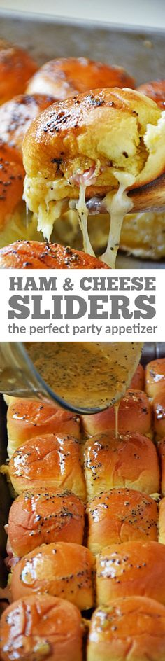 Baked Ham and Cheese Sliders | by Life Tastes Good are the perfect party appetizer this summer! This easy recipe, loaded with ham and cheese, is topped with a buttery mustard glaze to give these sliders a flavor explosion and then baked to ooey gooey cheesy deliciousness!