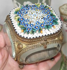 Antique Italian Micro Mosaic Tesserae Beveled Glass Jewel Keepsake Box | eBay