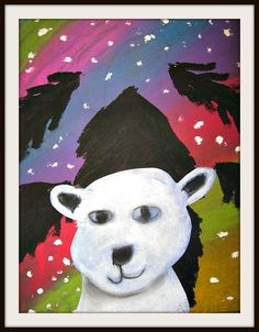 """Kids' art project inspiration: Polar Bears with Northern Lights. """"We made our polar bear portraits first on blue construction paper with white pastel and charcoal. Next we created colorful Northern Light shows with chalk pastels. Kids Art Class, Art For Kids, Kid Art, 2nd Grade Art, Grade 2, New Year Art, Classroom Art Projects, Art Classroom, Winter Art Projects"""