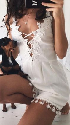 #summer #musthave #outfits | White Playsuit