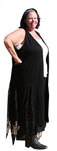 BBW Boutique Gothic Black Gypsy Duster Vest with Lace Panels 3X4X Bust 5054 inches Black ** Click on the image for additional details.