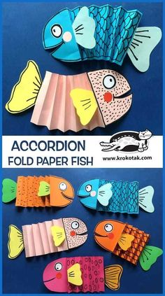 We love paper crafts and we love DIY Fish Crafts. Together they make this ultimate collection of easy DIY Paper Fish Crafts! Must see Kids Crafts, Diy Crafts Videos, Diy Crafts To Sell, Projects For Kids, Diy For Kids, Wood Crafts, Art Projects, Art Education Projects, Accordion Fold