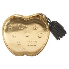 Apple coin purse (gold) (£240) ❤ liked on Polyvore featuring bags, wallets, change purse wallet, monogrammed wallet, chain coin pouch, coin purse wallets and chain wallet