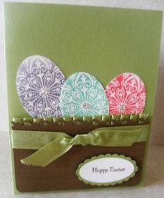 Use hearts instead of eggs for Valentine Day card.  Stampin' Up! Mixed Bunch Easter Eggs.  So clever!