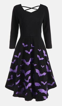 halloween outfits for women:Cross Back Bat Print Fit and Flare Dress