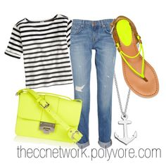 """""""Neon and Nautical Summer Outfit"""" by theccnetwork on Polyvore"""