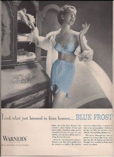Great use of color to highlight the break from boring white in this 1954 WARNERS Blue Frost BRA GIRDLE Breezed in from HEAVEN Wm Vintage LINGERIE Ad