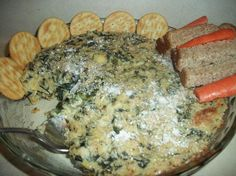 The Best Spinach & Artichoke Dip - Vegan from Food.com: This recipe is a deliciously-creamy, vegan version of the popular appetizer. I know you will LOVE this, and your dairy loving guests will have no idea that this wonderful dish is not made with mozzarella, cream cheese or mayo. My dear friend, who is lactose intolerant, did NOT eat the dip at first because she was convinced there was dairy in it. The white beans in this blended with the vegan cream cheese make the perfect non-dairy base…