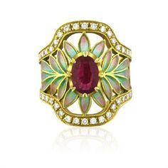 Masriera 18K Yellow Gold Diamond Ruby Plique A Jour Enamel Ring