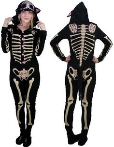 Kitty Bones Skelly Pajamas by Too Fast Clothing sz. Medium