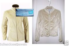 """MINT Women's Free Country Silky Fleece Thumb Holes Full Zip-Up M """"Butter Pile"""" RARE STYLE"""