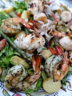 Scrumpdillyicious: Grilled Seafood Salad with Avocado Asparagus