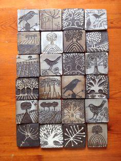 Black clay with white slip. Black clay with white slip. Ceramic Tile Art, Clay Tiles, Ceramic Clay, Ceramic Pottery, Sgraffito, Ceramics Projects, Art Projects, Clay Crafts, Arts And Crafts